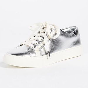 TORY Burch Sport Silver Leather Ruffle Sneakers